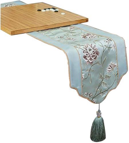 Unbekannt Hellblaue Tabelle Flagge Blended Blume Abbildung Mode Einfache Nordic Kaffee Bett Hochzeit Hotel Bankett 30 cm  180 cm MUMUJIN (Größe   200cm)