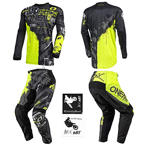 O'Neal Element Ride Black/Yellow Neon Men motocross MX off-road dirt bike Jersey Pants combo riding gear set (Pants W32 / Jersey Medium)
