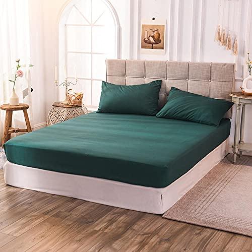 CYYyang Protector de colchón de bambú Funda de colchón y Ajustable Sábana de Cama de Color Puro a Prueba de Polvo-Verde Hierba_140x200x30cm