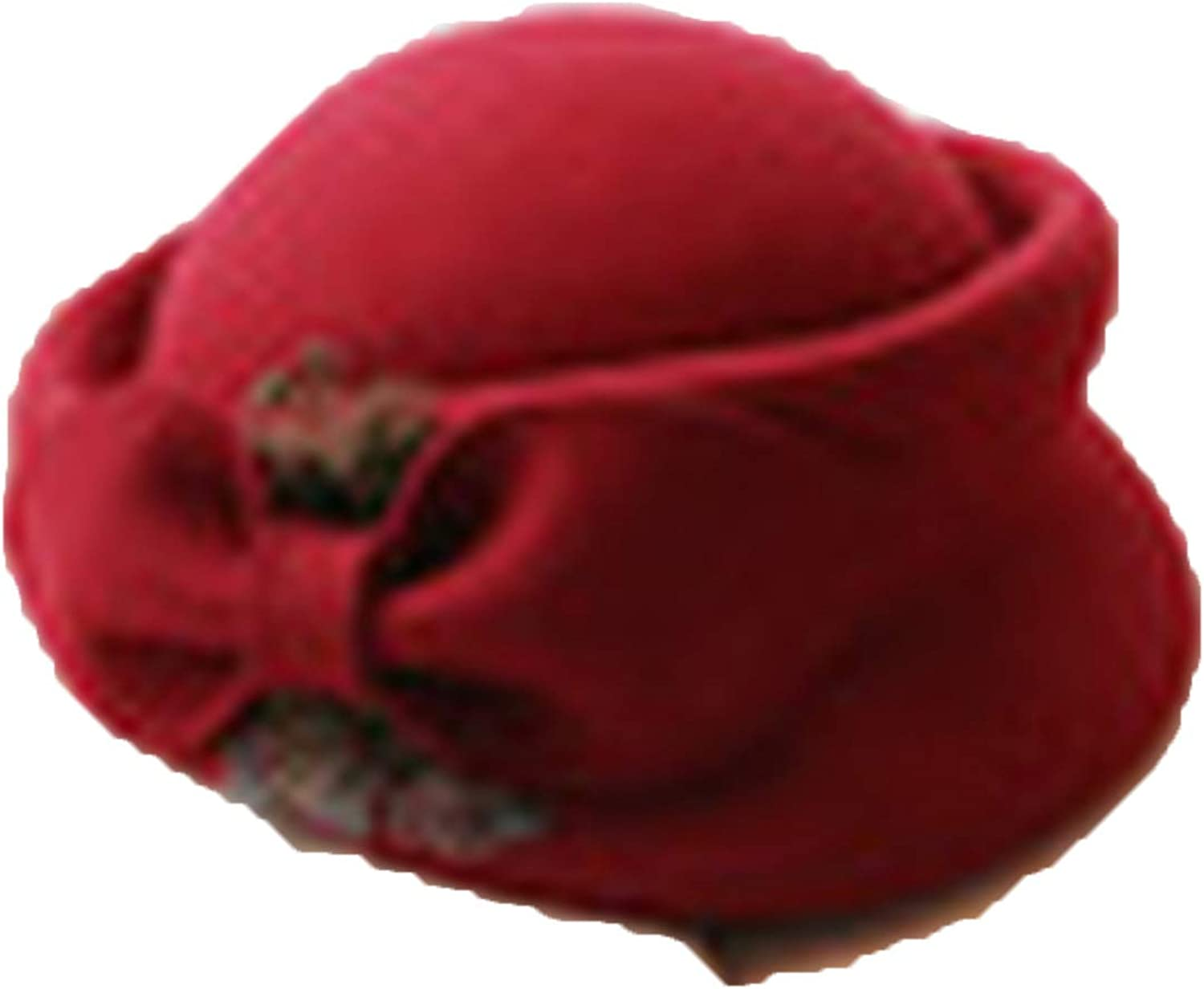 Elegant Ladies Bow Fedora Hat Autumn Winter Wool Beret Hat for Woolen Pillbox Stewardess Hats