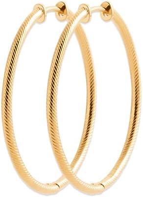 Tata Gisèle - Orecchini placcati oro giallo 18 carati, a cerchio intrecciati, 35 mm, in sacchetto di velluto