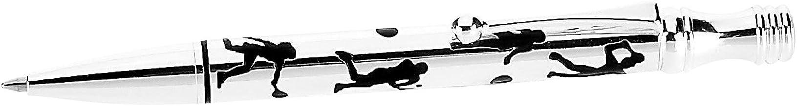 Navika USA Tennis Silhouettes Silver Ballpoint Pen, Silver/Black