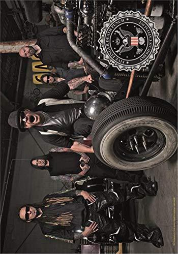 Heart Rock Original 5 Finger Death Punch Band Photo, Stoff, Mehrfarbig, 110x75x0.1 cm