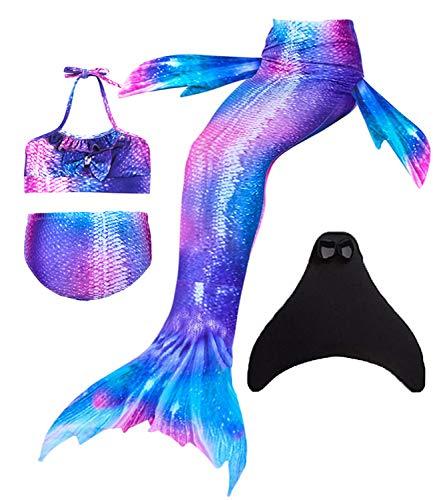 Wishliker - Disfraz de sirena con cola, bikini y aleta para niña (conjunto de 4 piezas) Dh22 130 cm