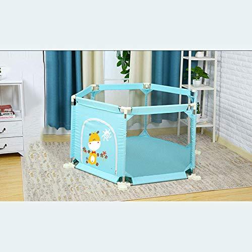 Unknow 22 sq ft AzulVallas Bebe con Malla Transpirable,6 Piezas Baby Parque para Bebés Y Niños Pequeños con Portátil De Malla Transpirable