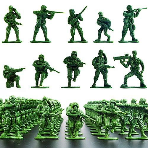 Wankko 2-Inch Plastic Army Men Action Figures, 10 Unique Sculpts, Pack of 100 (Green)
