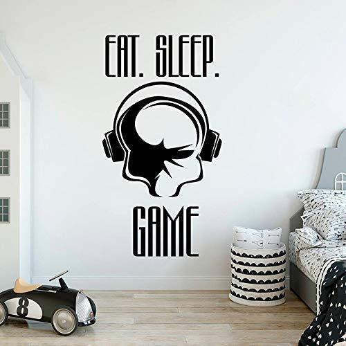 Game Decal Gamer Wall Sticker Eat Sleep Games Decal Decoración para el hogar Video Gamer Gift Game Room Decor personalizado para niños Habitación A 42X78Cm