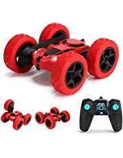 GLOWEE Remote Control Car, 4WD 2.4 Ghz High Speed Electric RC Stunt Car, 360° Double-Side Spinning & Tumbling, LED Headlight, Double Side Roll, Kids Toy Battery Car for Boys and Girls (Red)