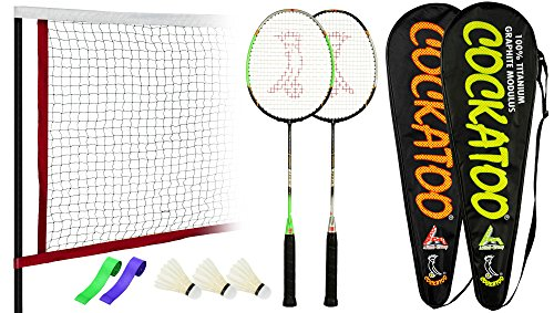 Cockatoo Pro-15 100% Titanium Badminton Racquet Set Pack of Two with Two Cover 3 Shuttlecock, 2 Grip & 1 Badminton Net Size: 27 inch (Multi-1)
