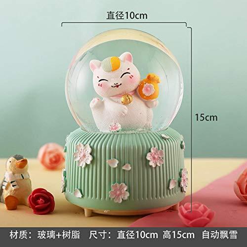 Fslt Unicorn Crystal Ball Snowflake Music Box Music Box Enviar Girlfriend Girl Child Creative Birthday New Year Gift-CX8P004B (música + Linterna + Nieve automática)
