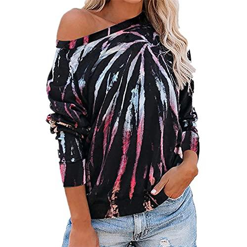 Camisetas Estampadas con teñido Anudado para Mujer Sudadera de Manga Larga Jersey de Moda para Mujer Tops Casuales con Estilo Ropa de salón Ropa de otoño con Cuello Redondo de teñido Anudado