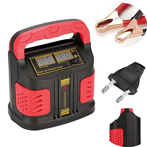 Cargador de batería de coche, cargador de batería inteligente de 12V / 24V 15A para motocicleta, coche de la UE