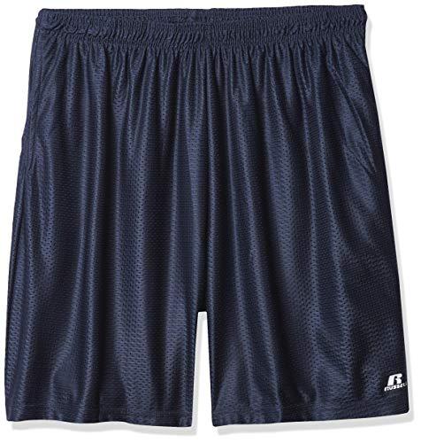 RusseL BigL Big AthL Bigetic Men's Russell Athletic mesh Short Drawstring Elastic Waistband with Pockets, Navy, 4XL