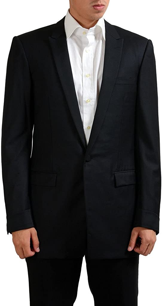 Versace Gianni 100% Wool Black One Button Blazer