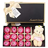 JXAA Rosenblattseife, schöner lila Bär, 12 parabenfreie Rosenseifenblumen-Geschenkbox,...