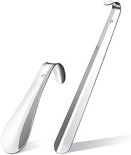 Chausse-pied, 2 pièces 42cm&16cm Acier Inoxydable Métal Shoe Horn Pieds,Convient pour toutes les tailles de pieds Facile à...
