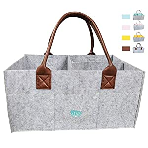 Baby Diaper Caddy Organizer: Large Organizer Tote Bag for Boys Girls Infant – Baby Shower Gift Bag Nursery Essential – Collapsible Newborn Caddie Car Travel, Baby Registry Must Haves (Leather)