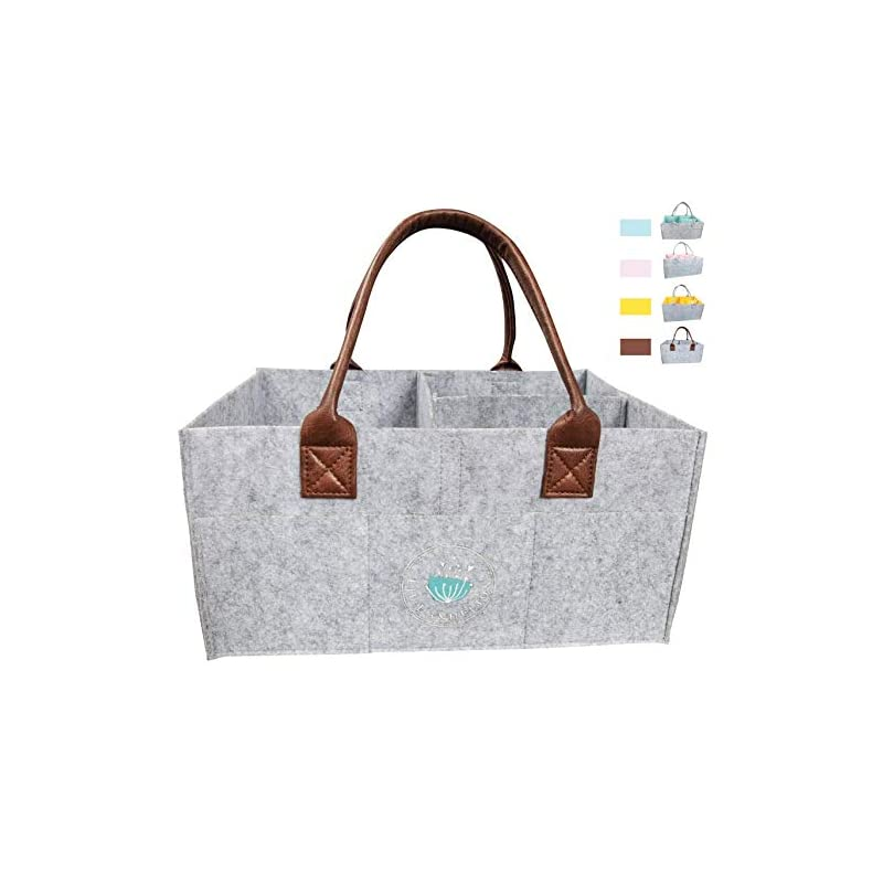 crib bedding and baby bedding baby diaper caddy organizer: large organizer tote bag for boys girls infant - baby shower gift bag nursery essential - collapsible newborn caddie car travel, baby registry must haves (leather)