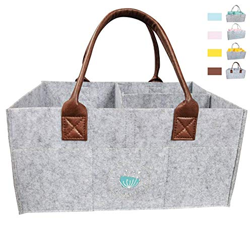 Baby Diaper Caddy Organizer: Large Organizer Tote Bag for Boys Girls Infant - Baby Shower Gift Bag Nursery Must Haves - Registry Favorites - Collapsible Newborn Caddie Car Travel (Leather)