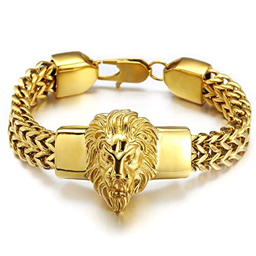 W/W Lifetime Gold Bracelet for Men 18K Plated Stainless Steel Heavy 12mm Double Franco Chain Lion Head Bracelet for Men and Boys (Gold, 8.66inches)