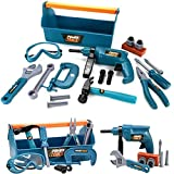 UMKYTOYS Kids Carry Case Tool Box Set For Kids With Drill Hammer Spanner tools for children toddlers 22 Piece Toolkit toys for boys Pretend Play Toys for 3 4 5 6 7 Years Old Toddlers