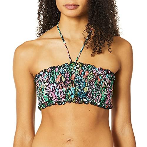 COCO RAVE Women's Standard Smocked Halter Bikini top Swimsuit, Merci Bouquet Jet Black, Medium