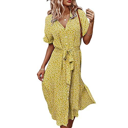 Vestido de manga corta con botones y estampado floral para mujer