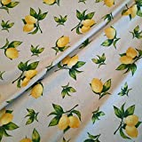 Stoff Meterware Baumwolle natur Zitrone gelb Dekostoff