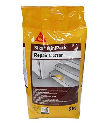 Sika Minipack Mortero de Reparación, listo para su uso, reforzado con microfibras sintéticas para reparar, regenerar reperfilado y regularización de superficies de hormigón 5 kg, Gris