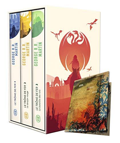 Le trône de fer (A game of Thrones) : Coffret en 3 volumes : Tome 1, Le trône de fer ; Tome 2, Le donjon rouge ; Tome 3, La bataille des rois. Avec une carte