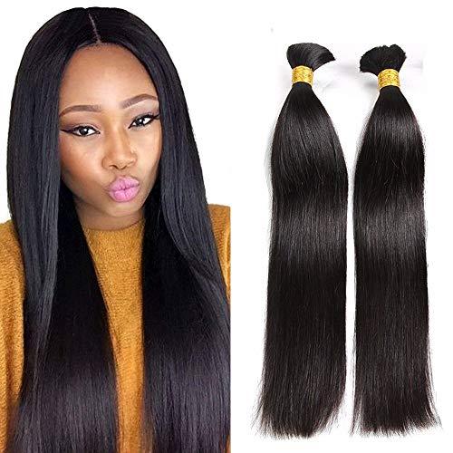 Hesperis Cheap Human Braiding Hair Bulk no Weft Brazilian Virgin Hair Straight Natural Hair Bundles for Braiding 8A Virgin Hair bundles 100g Per Bundle (24inch #1 color)