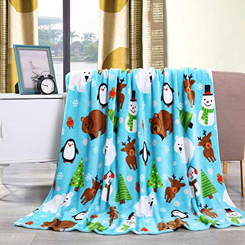 "Noble House Christmas Throw Blanket for Kids & Teens Fun Holiday Blanket 50"" x 60"" (Snowman, Reindeer, Polar Bear & Christmas Tree)"