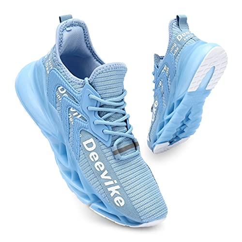 Deevike Laufschuhe Damen Wanderschuhe Damen Sneaker Sportschuhe Straßenlaufschuhe Fitness Tennisschuhe Blau Weiß-36