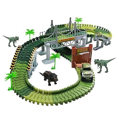 perfecti 142 Piezas Mundo De Dinosaurios Conjunto DIY Circuito De Coches Juguete...