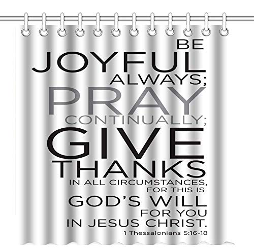 GOOESING Shower Curtain, Christian Bible Verses Scripture Quotes Thessalonians - Be Joyful Alaways Pray Give Thanks
