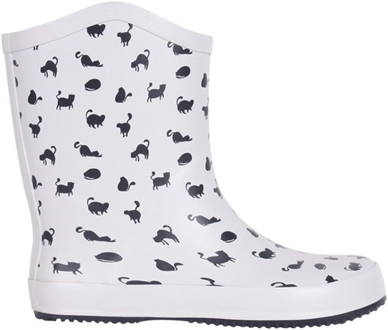 BaronHong Womens Rain Boots Platform Cats Print Ankle Booties Rainy shoes