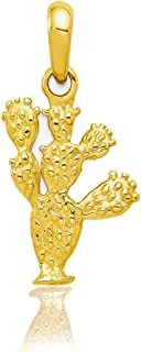 Solid 14k Yellow Gold 3-D Cactus Pendant 26x14.25 mm