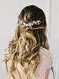 Mayelia Diadema de novia para novia y boda, diseño de flor de vid de plata con diamantes de imitación para mujeres y niñas