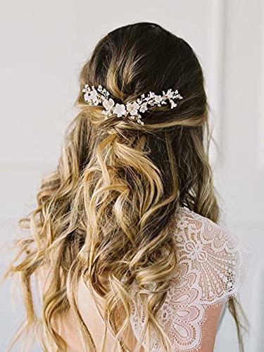 Mayelia - Cerchietto per capelli da sposa con fiore in argento, con strass, per donne e ragazze