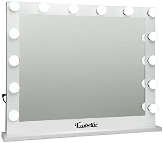 Embellir Hollywood Style Mirror Stand Up Vanity Makeup Mirror with 14 Lighted Bulbs and USB Charging for Living Room Dressing Desk Tabletop Countertop Cosmetic(White)