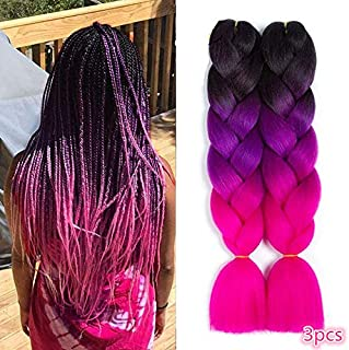 Braiding Hair Synthetic Ombre Hair Kanekalon Braiding High Temperature Fiber Crochet Twist Braids (24