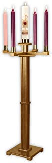 US Gifts Church Advent Candleholder Solid Wood,Pecan Stain H, Square Base, Arms