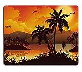 luxlady Caucho Natural Gaming Mousepads Tropical Paisaje Mar Islas con flores de palmeras Mountain Nubes Sol y pájaros negro siluetas en rojo imagen ID 27448190, diseño de gaviotas