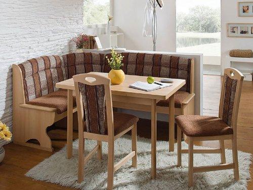 Schösswender Eckbankgruppe Luzern 2 Buche naturfarbig mit Truhe, Vierfusstisch und 2 Stühle