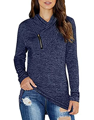 KIRUNDO 2019 Winter Women's Long Sleeves Pullover Zipper Cowl Neck Tops Solid Color Sporty Sweatshirts (Small, Dark Blue)