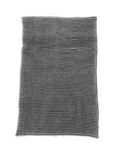 Trappeto Bagno Freddy 50x80 cm, col. Grigio, 100% Morbida Microfibra, Fondo Antiscivolo, Assorbente, Lavabile in Lavatrice, Rapida Asciugatura