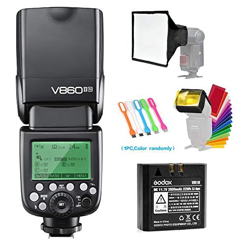 Godox V860II-N I-TTL GN60 2.4G High-Speed Sync 1/8000s Li-ion Battery Camera Flash Speedlite Light Compatible for Nikon Cameras with 15x17cm Softbox & Filter & CONXTRUE USB LED