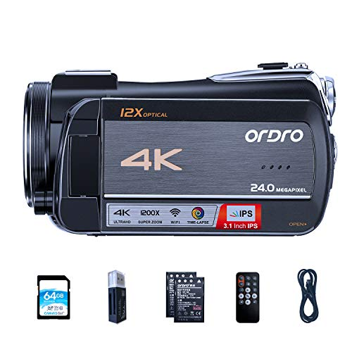 Video Camera 4K Livestream Camcorder ORDRO HDR-AC5 12X Optical Zoom Video Recorder 3.1'' IPS Touchscreen Live Broadcast Camcorder with 6.5ft USB Livestreaming Cable and 64GB SD Card