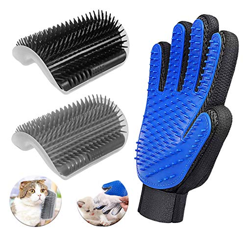 D-buy 3 Pack Cat Groomer Brush Set, Cat Self Groomers Corner Massage Combs with Catnip, Pet Grooming Mitts Brush Gloves for Short Long Fur Cats, Pet Hair Remover Grooming Brush Massage Tool for Kitten Puppy