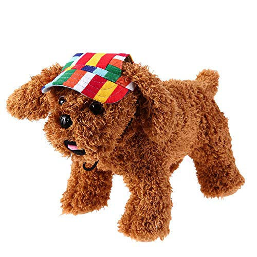 Fliyeong Regenbogen Streifen Haustier Hut für Hund, Visier Hut Oxford Canvas Hund Baseball Cap Sport Hut Sonnenhut mit Ohr Löchern (M)